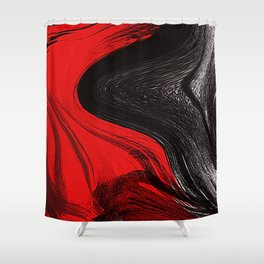 Abstract art red and blacks Shower Curtain