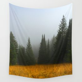 Olive Green Pines Wall Tapestry