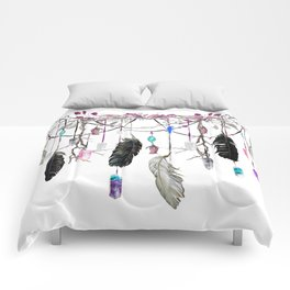 Raven Feathers And Roses Crystal Spirit Gazer Comforters