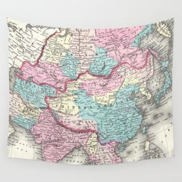 Vintage Map of Asia (1855) Wall Tapestry