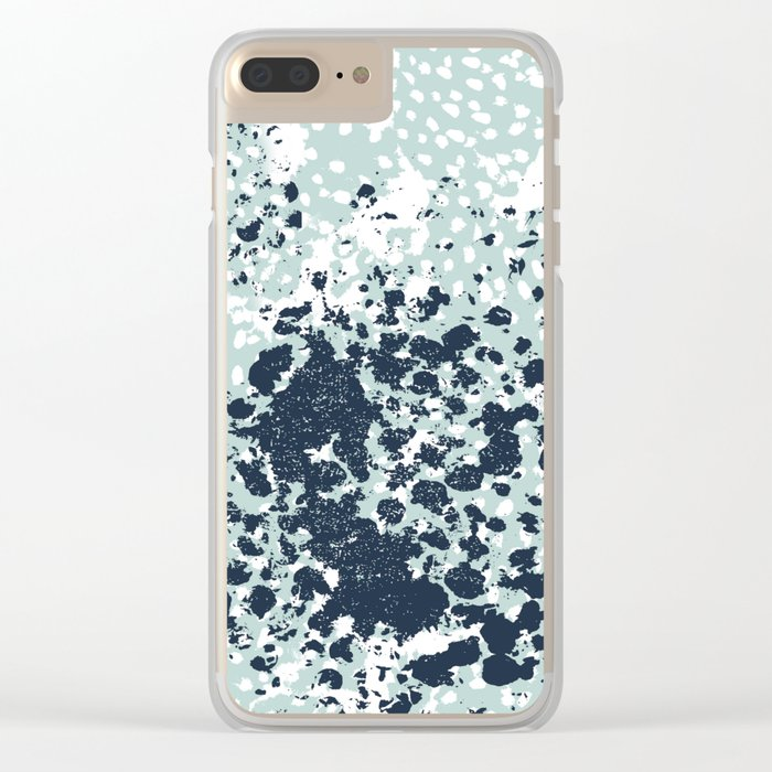 Textured mint and blue abstract painting dots pattern modern minimal art print Clear iPhone Case
