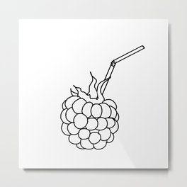 the raspberry cocktail with a straw Metal Print