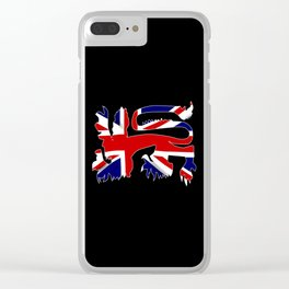 British Lion Silhouette On Union Jack Flag Clear iPhone Case