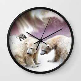 Polar Bears and Penguin Wall Clock