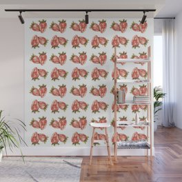 Watercolor Strawberry Pattern Wall Mural