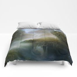 His Realm - White stag in beautiful otherwordly Landscape Comforters