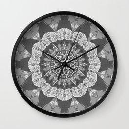 Mandala pattern gray yoga namaste floral om boho Wall Clock