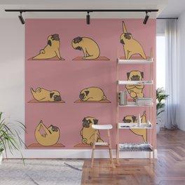 Pug Yoga In Pink Wall Mural