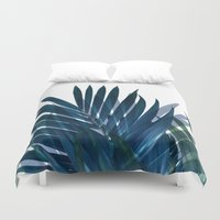 palm Duvet Covers featuring Palm Leaves by cafelab