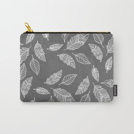 White hand drawn boho feathers hand drawn grey industrial concrete cement Carry-All Pouch