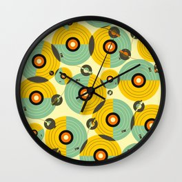 Turntables (Yellow) Wall Clock