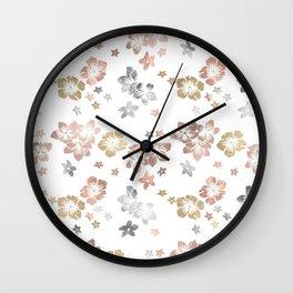 Rose Gold Copper Bronze Tropical Flowers Multi Metallic Wall Clock