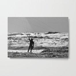 Kitesurfer at the beach Metal Print