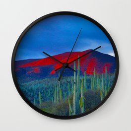 Green Cactus Field In The Desert With Red Mountains Blue Grey Sky Landscape Photography Wall Clock