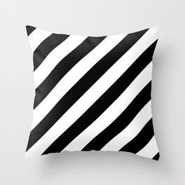 Diagonal Stripes Black & White Throw Pillow