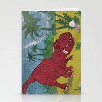 trex Stationery Cards featuring Trex-tra Cuddly by lindsey salles