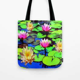PINK & YELLOW WATER LILIES POND Tote Bag