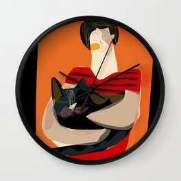 The girl with the cat Wall Clock