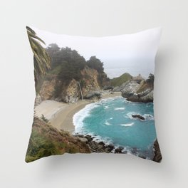 Foggy Day in Big Sur Throw Pillow