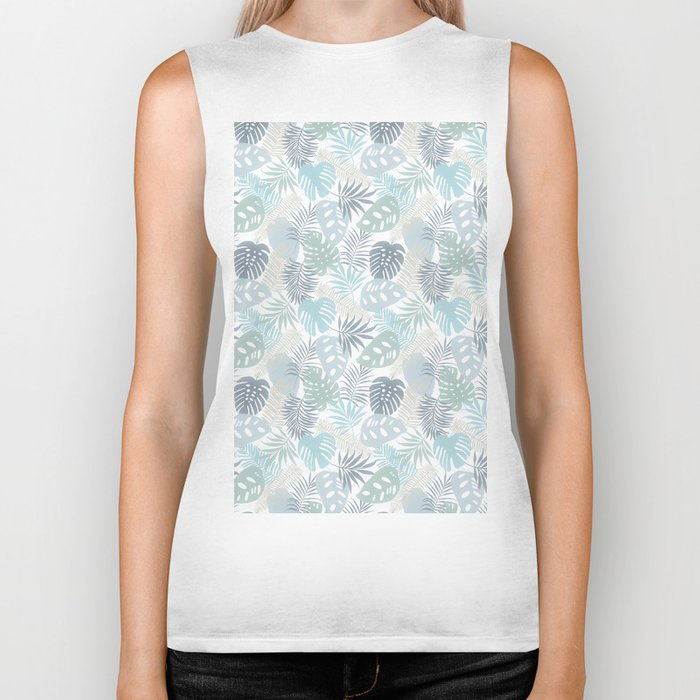 Tropical Leaves Pattern Blue Biker Tank