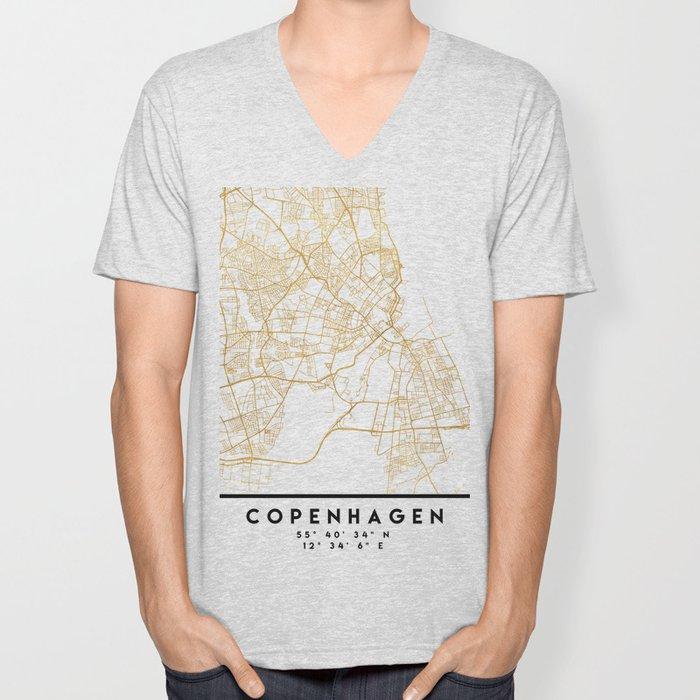 COPENHAGEN DENMARK CITY STREET MAP ART Unisex V-Neck