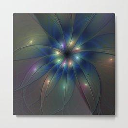 Luminous Fractal Art, Colorful Flower Graphic Metal Print