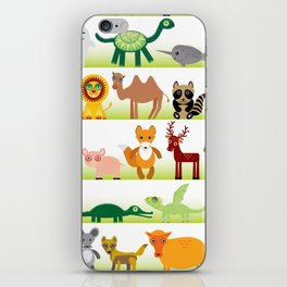 Set of funny cartoon animals character on white background iPhone Skin