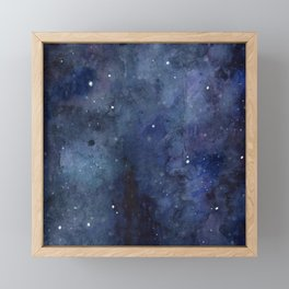 Galaxy Nebula Watercolor Night Sky Stars Outer Space Blue Texture Framed Mini Art Print
