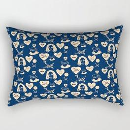 aspri petra white stone heart blue Rectangular Pillow