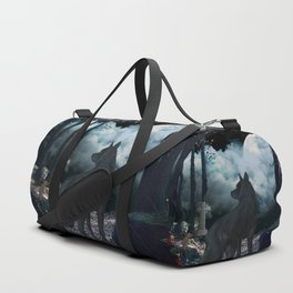 The lonely wolf in the dark night Duffle Bag