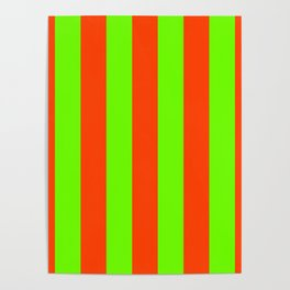 Bright Neon Green and Orange Vertical Cabana Tent Stripes Poster