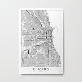 Chicago White Map Metal Print