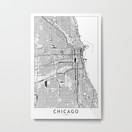 Chicago White Map Metal Print
