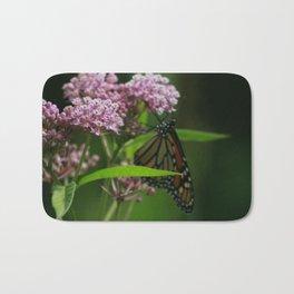 monarch on milkweed Bath Mat