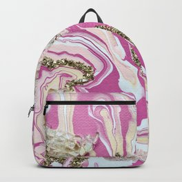 Hot Pink Agate with Gold Glam Abstract Backpack