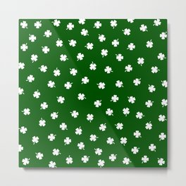 White Shamrocks Green Background Metal Print