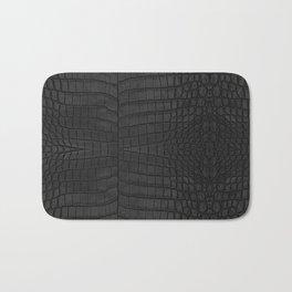 Black Crocodile Leather Print Bath Mat