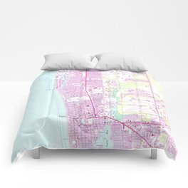 Vintage Map of Naples Florida (1958) Comforters