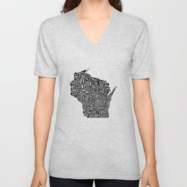 Typographic Wisconsin Unisex V-Neck