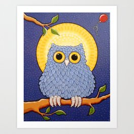 Little Blue Owl and Mandala Moon Art Print