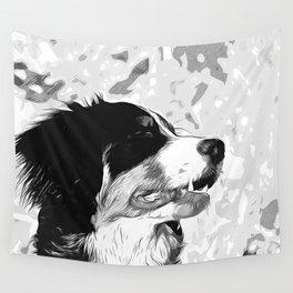 bernese mountain dog vector art black white Wall Tapestry