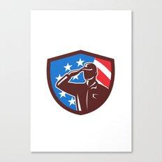 American Soldier Saluting USA Flag Crest Retro Canvas Print