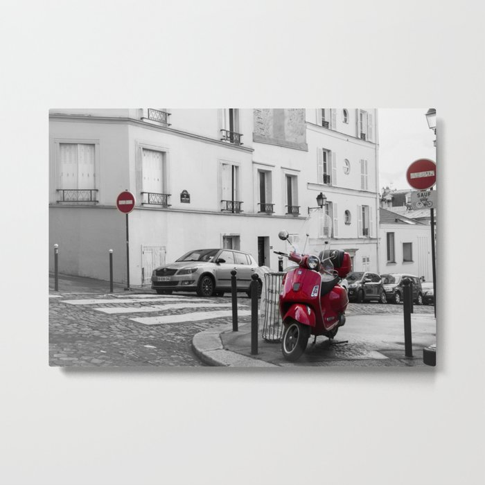 Red Vespa in Paris Metal Print