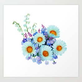 Bouquet with daisies Art Print