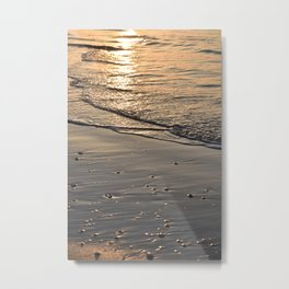 Sunset beach orange reflections -  Wijk aan Zee Holland- Travel photography - Metal Print