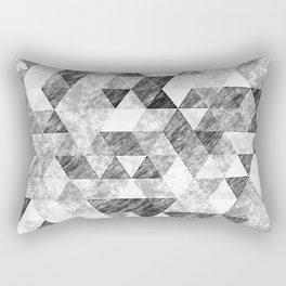 Triangles Grunge Pencil Geometric Black&White Grey Rectangular Pillow