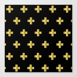 Cross Pattern Black and Gold Canvas Print
