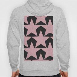 BIG pink star pattern in on black Hoody