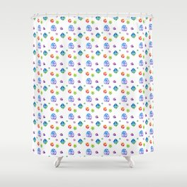Watercolor Dice Shower Curtain