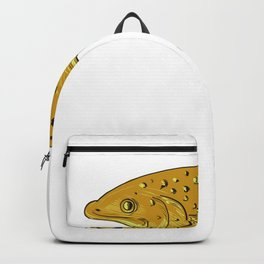 Brown Trout Jumping Drawing Backpack